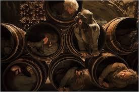El Hobbit la desolacion de smaug, los barriles